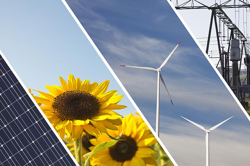 Erneuerbare Energie Concept Collage mit Windkraftwerk, Solarpane